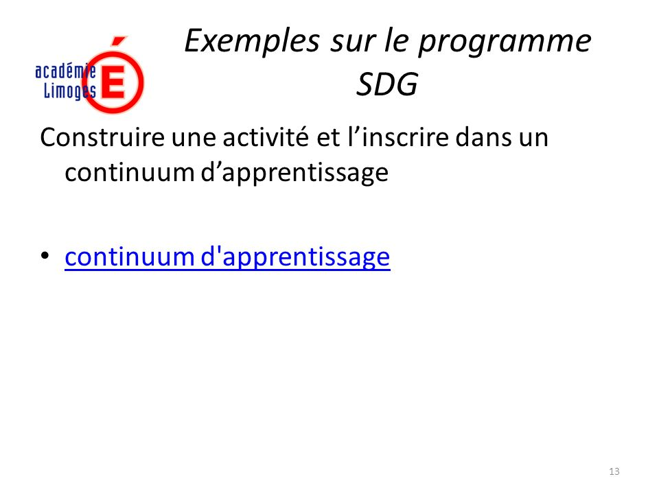 Exemples sur le programme SDG