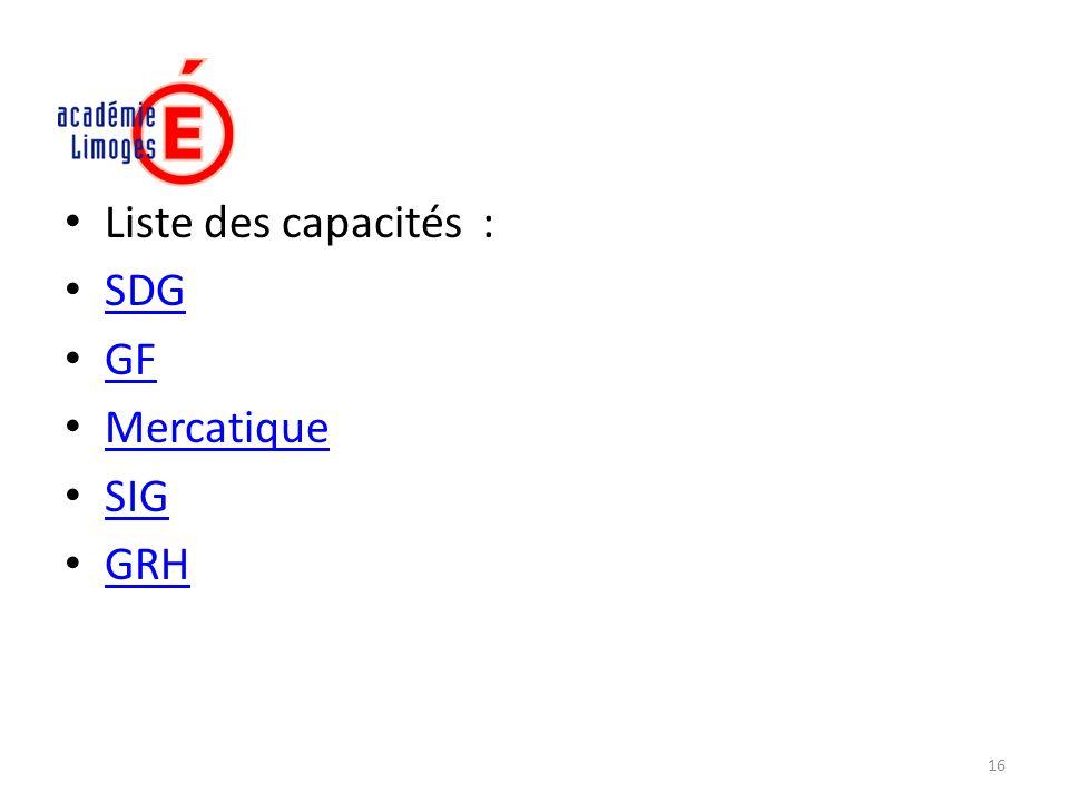 Liste des capacités : SDG GF Mercatique SIG GRH