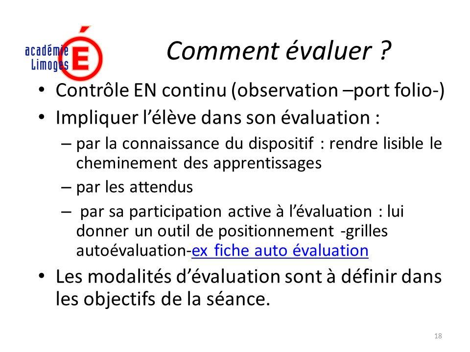 Comment évaluer Contrôle EN continu (observation –port folio-)