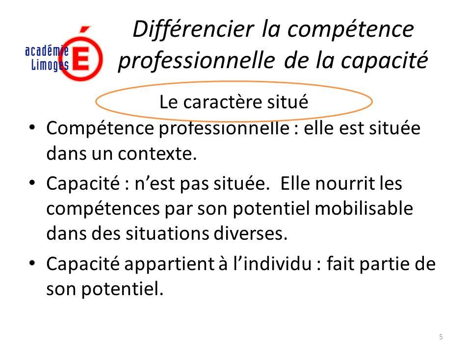 Différencier la compétence professionnelle de la capacité