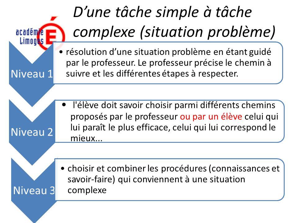 D'une tâche simple à tâche complexe (situation problème)