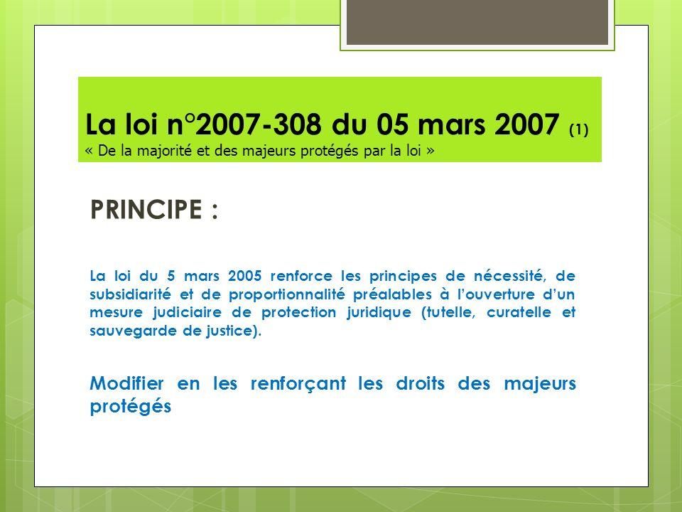 La loi n°2007-308 du 05 mars 2007 (1) « De la majorité et des majeurs protégés par la loi »