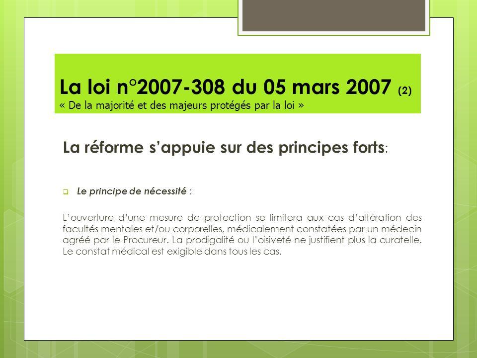 La loi n°2007-308 du 05 mars 2007 (2) « De la majorité et des majeurs protégés par la loi »