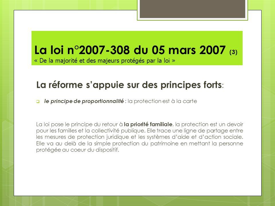 La loi n°2007-308 du 05 mars 2007 (3) « De la majorité et des majeurs protégés par la loi »