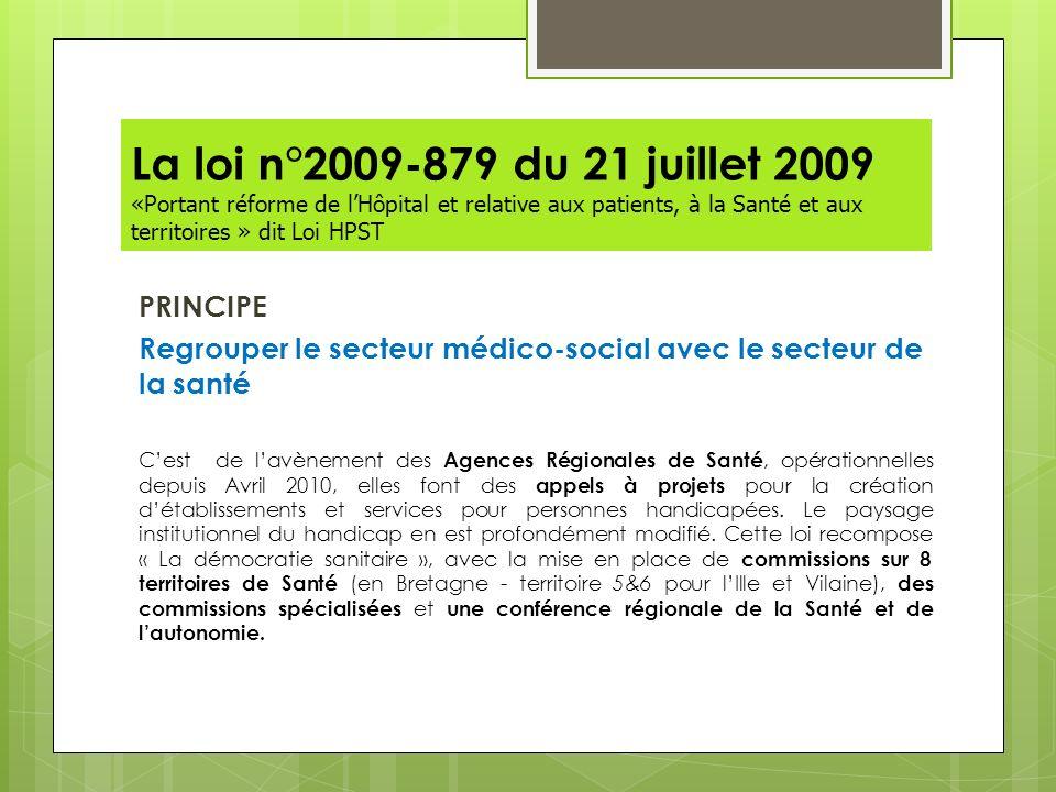 La loi n°2009-879 du 21 juillet 2009 «Portant réforme de l'Hôpital et relative aux patients, à la Santé et aux territoires » dit Loi HPST