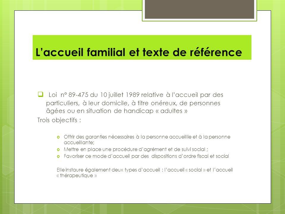 L'accueil familial et texte de référence