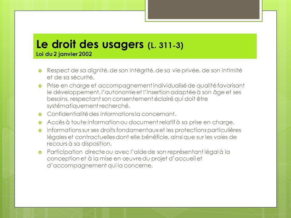 Le droit des usagers (L. 311-3) Loi du 2 janvier 2002
