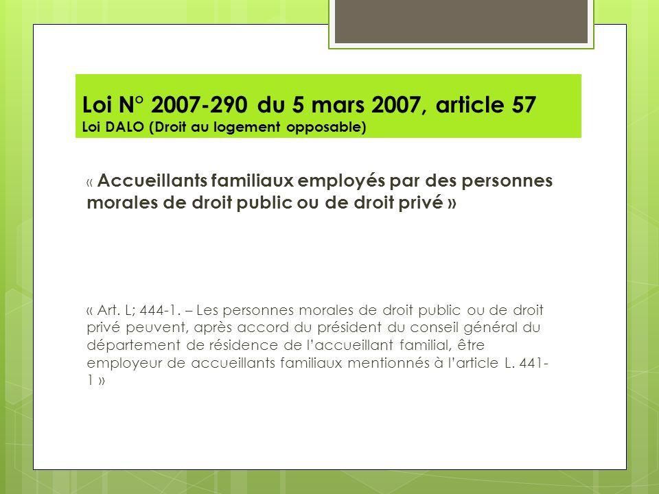Loi N° 2007-290 du 5 mars 2007, article 57 Loi DALO (Droit au logement opposable)
