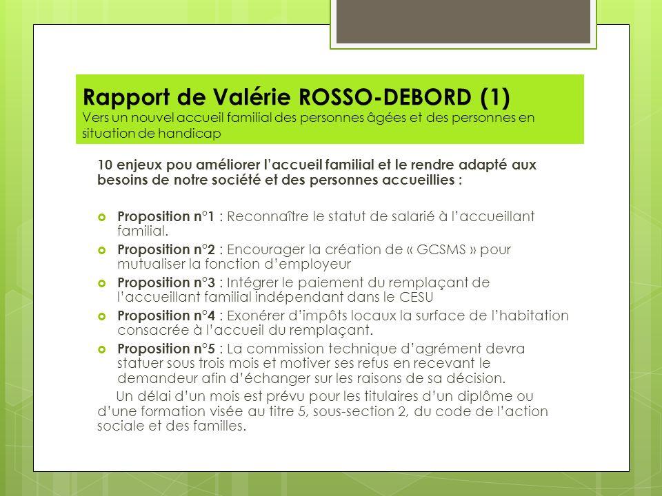 Rapport de Valérie ROSSO-DEBORD (1) Vers un nouvel accueil familial des personnes âgées et des personnes en situation de handicap