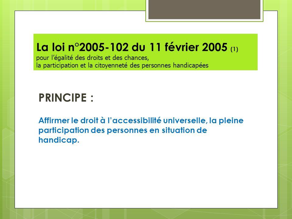 La loi n°2005-102 du 11 février 2005 (1) pour l'égalité des droits et des chances, la participation et la citoyenneté des personnes handicapées