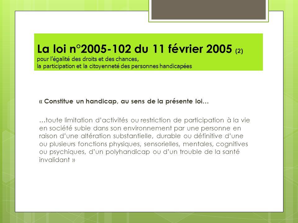 La loi n°2005-102 du 11 février 2005 (2) pour l'égalité des droits et des chances, la participation et la citoyenneté des personnes handicapées