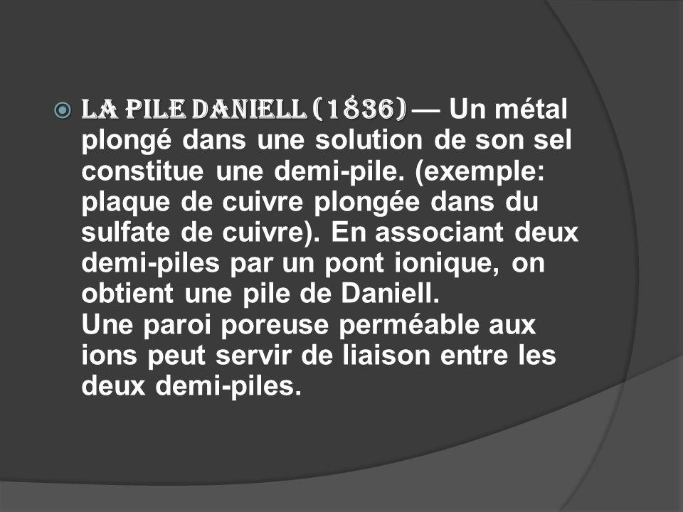 La pile Daniell (1836) — Un métal plongé dans une solution de son sel constitue une demi-pile.