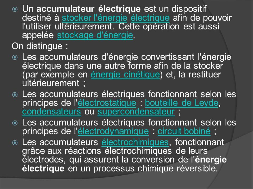 Un accumulateur électrique est un dispositif destiné à stocker l énergie électrique afin de pouvoir l utiliser ultérieurement. Cette opération est aussi appelée stockage d énergie.
