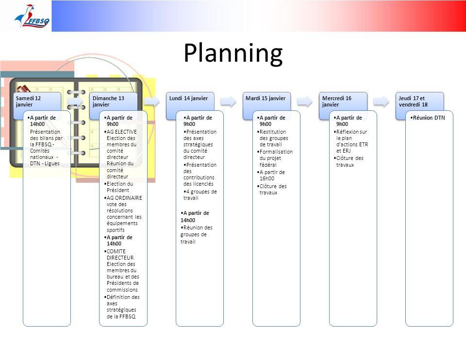 Planning Samedi 12 janvier A partir de 14h00