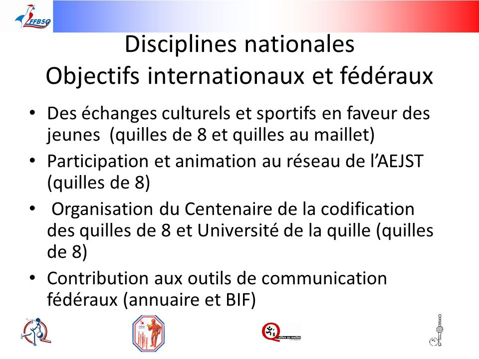 Disciplines nationales Objectifs internationaux et fédéraux