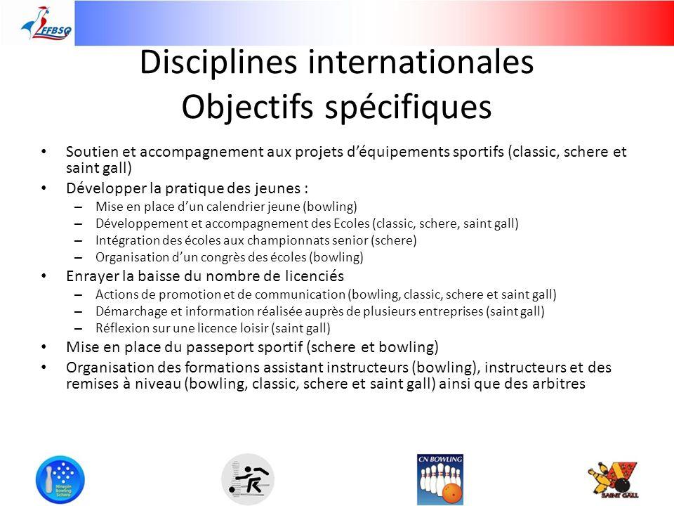 Disciplines internationales Objectifs spécifiques