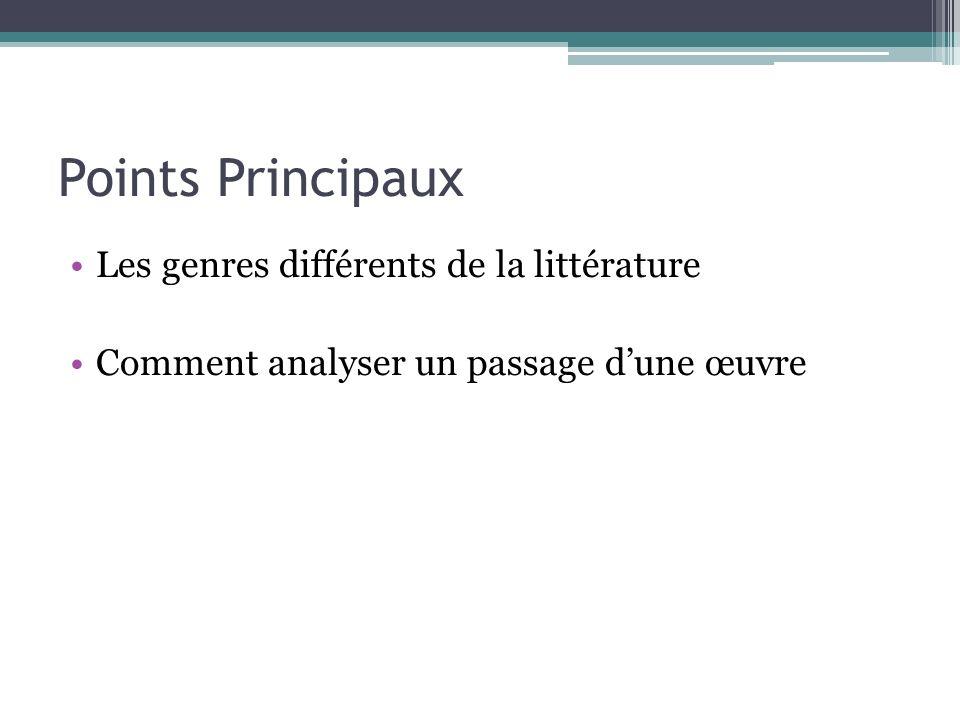 Points Principaux Les genres différents de la littérature