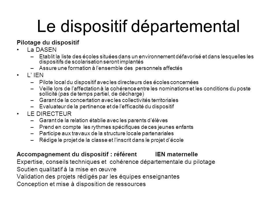 Le dispositif départemental