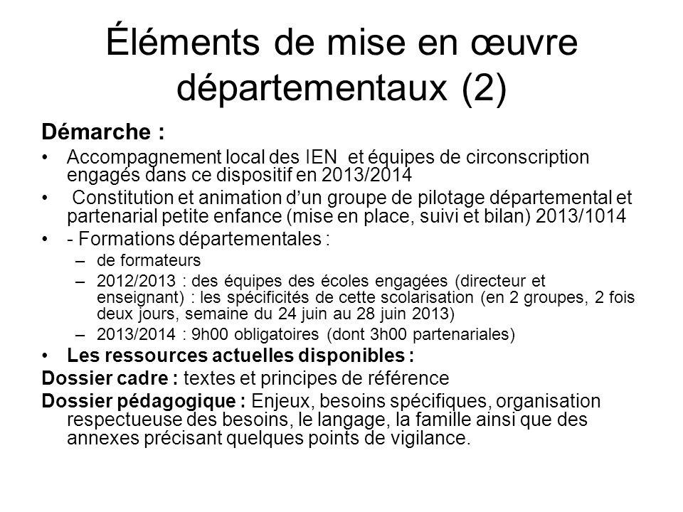 Éléments de mise en œuvre départementaux (2)