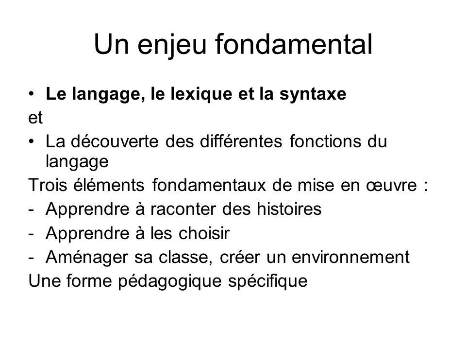 Un enjeu fondamental Le langage, le lexique et la syntaxe et