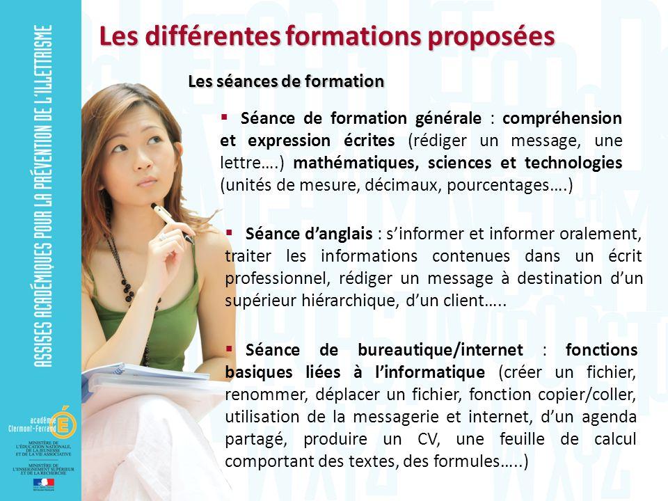 Les différentes formations proposées
