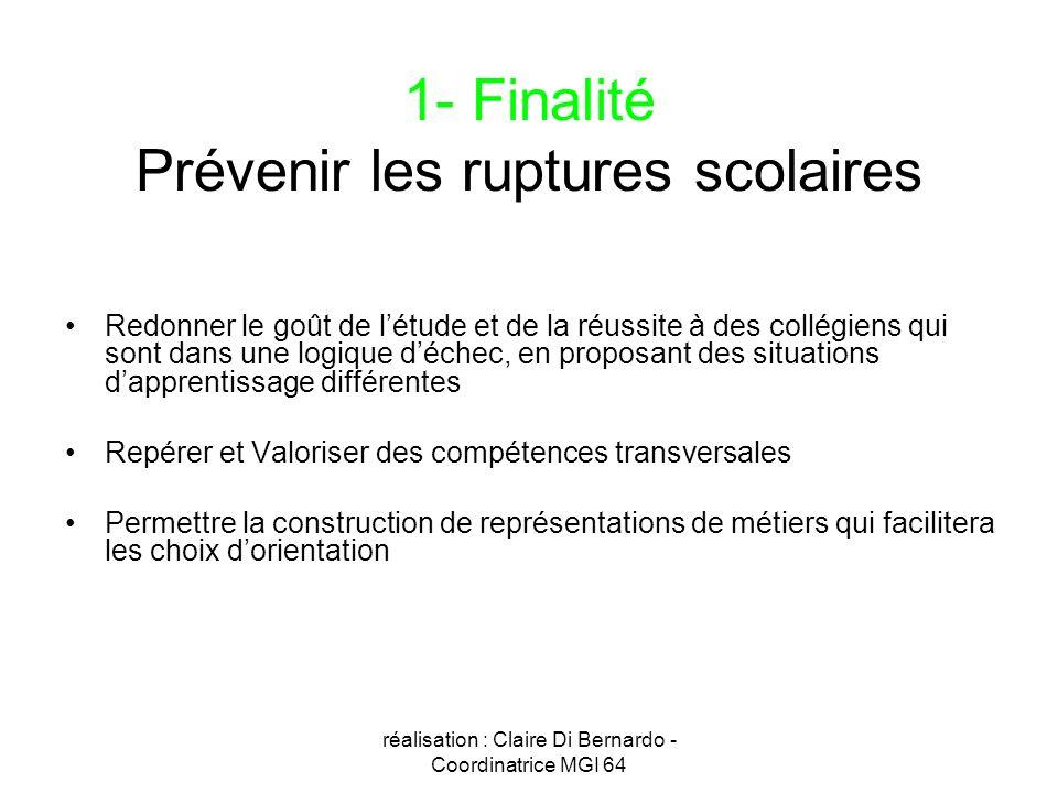 1- Finalité Prévenir les ruptures scolaires