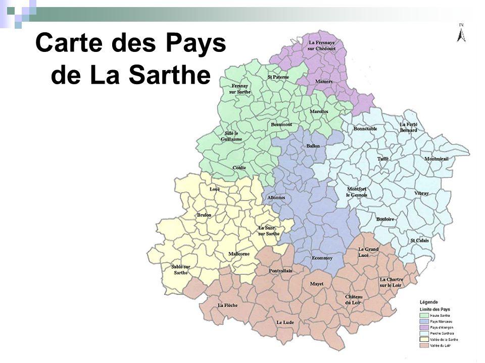 Carte des Pays de La Sarthe