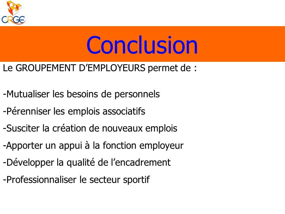 Conclusion Le GROUPEMENT D'EMPLOYEURS permet de :