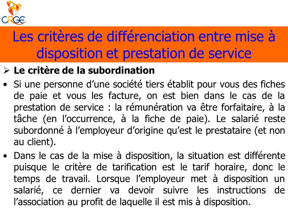 Les critères de différenciation entre mise à disposition et prestation de service