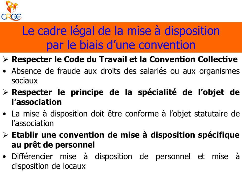 Le cadre légal de la mise à disposition par le biais d'une convention