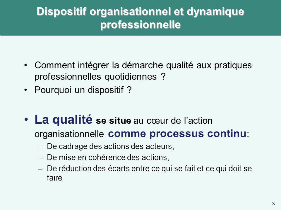 Dispositif organisationnel et dynamique professionnelle