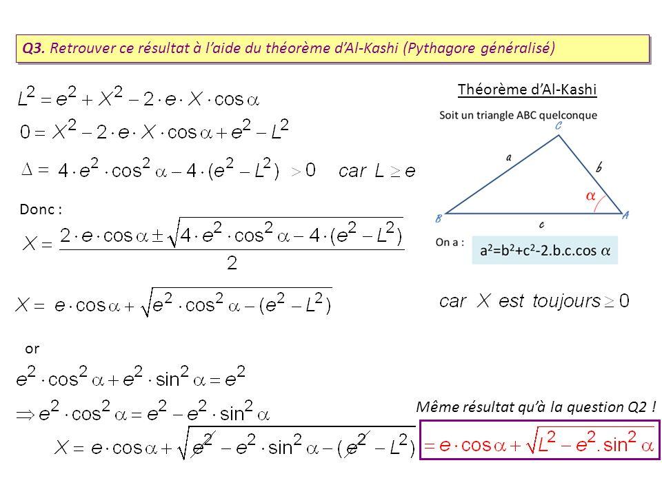 Q3. Retrouver ce résultat à l'aide du théorème d'Al-Kashi (Pythagore généralisé)