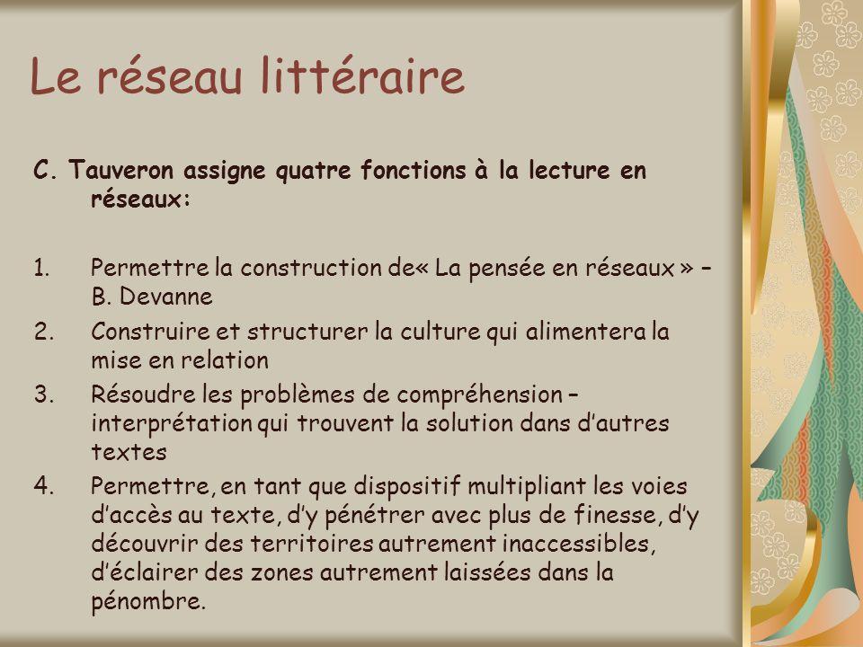 Le réseau littéraireC. Tauveron assigne quatre fonctions à la lecture en réseaux: Permettre la construction de« La pensée en réseaux » – B. Devanne.