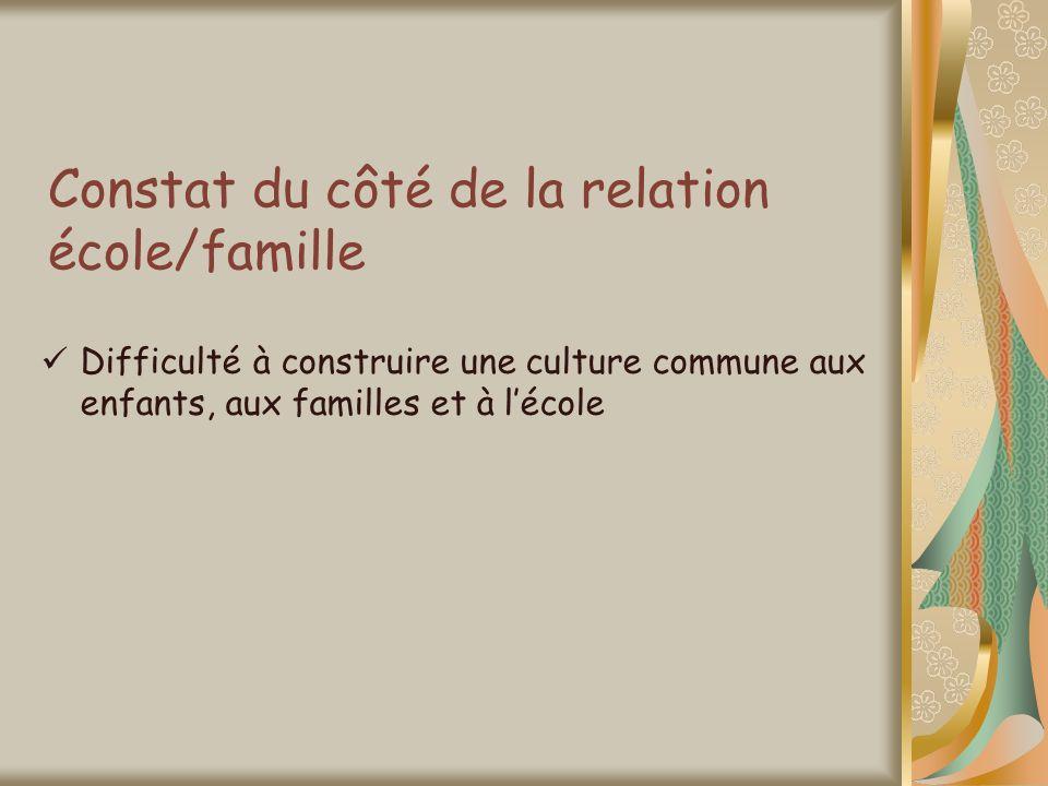 Constat du côté de la relation école/famille