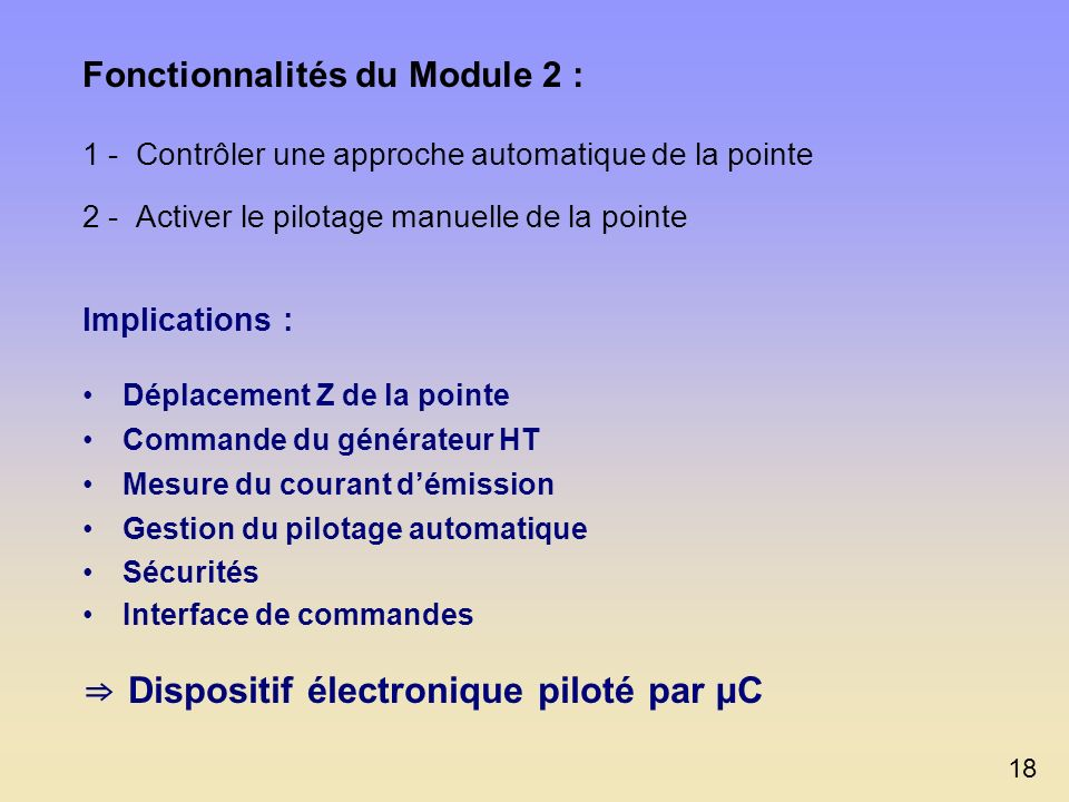 ⇒ Dispositif électronique piloté par µC