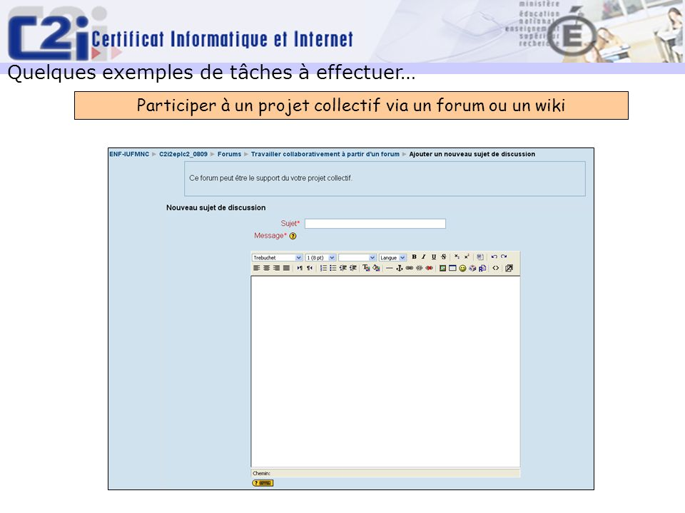 Participer à un projet collectif via un forum ou un wiki
