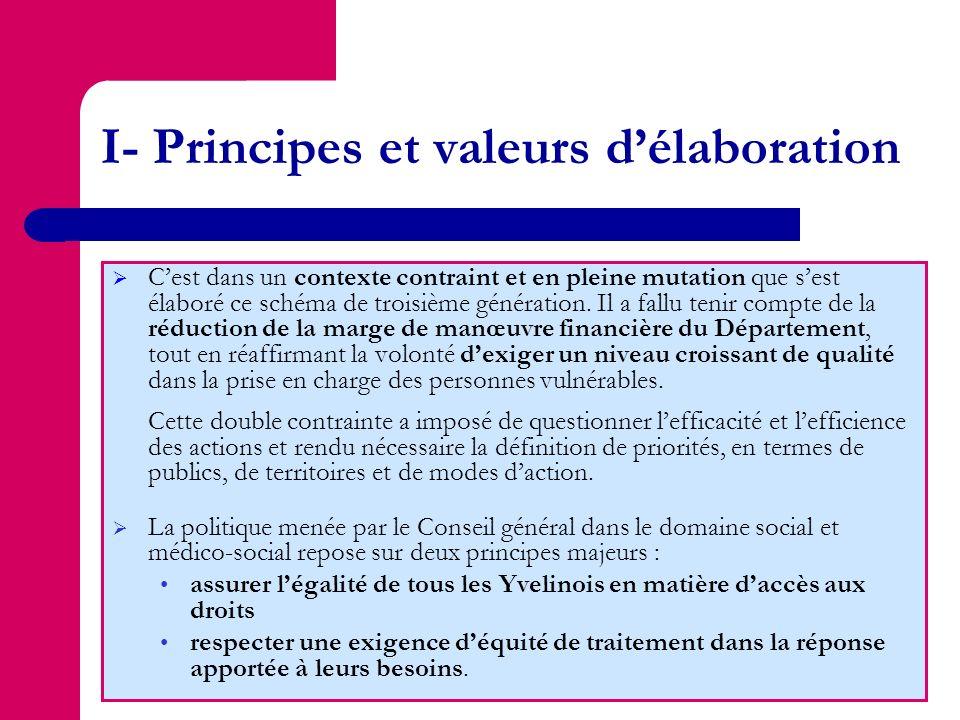 I- Principes et valeurs d'élaboration