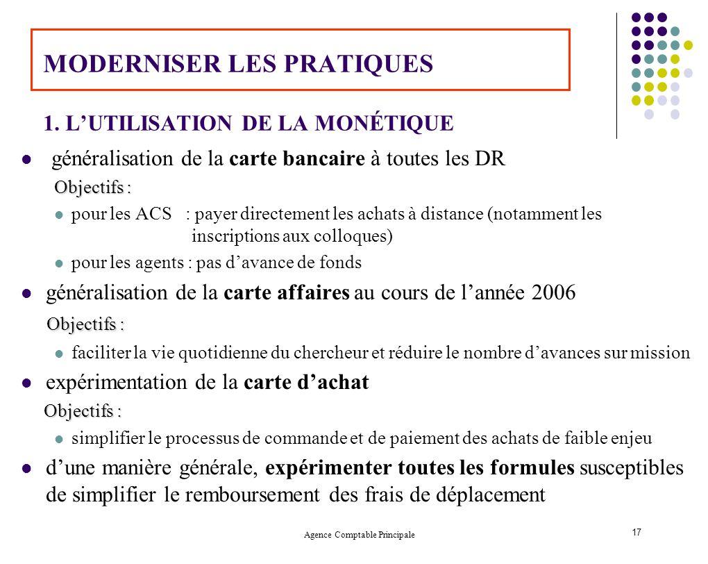MODERNISER LES PRATIQUES 1. L'UTILISATION DE LA MONÉTIQUE