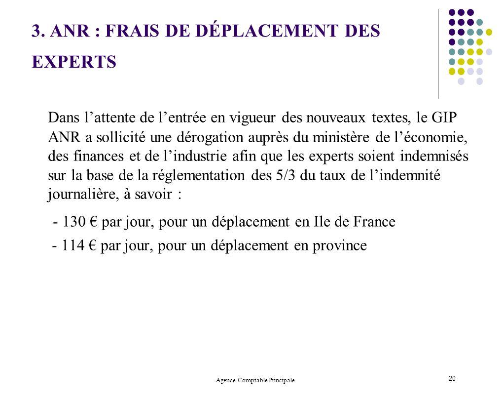 3. ANR : FRAIS DE DÉPLACEMENT DES EXPERTS