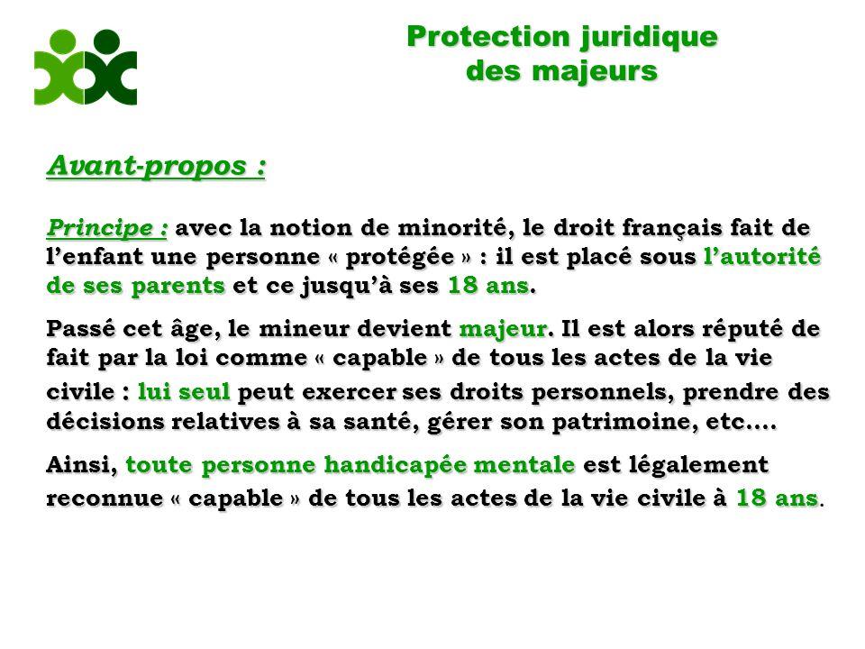 Protection juridique des majeurs Avant-propos :