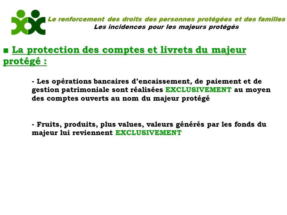 ■ La protection des comptes et livrets du majeur protégé :