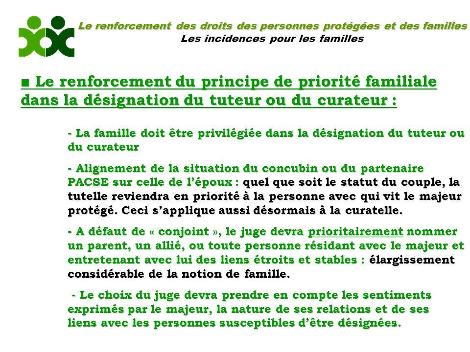 Le renforcement des droits des personnes protégées et des familles