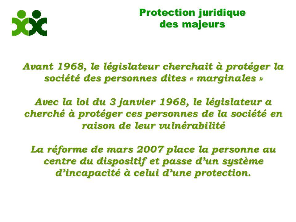 Protection juridique des majeurs. Avant 1968, le législateur cherchait à protéger la société des personnes dites « marginales »