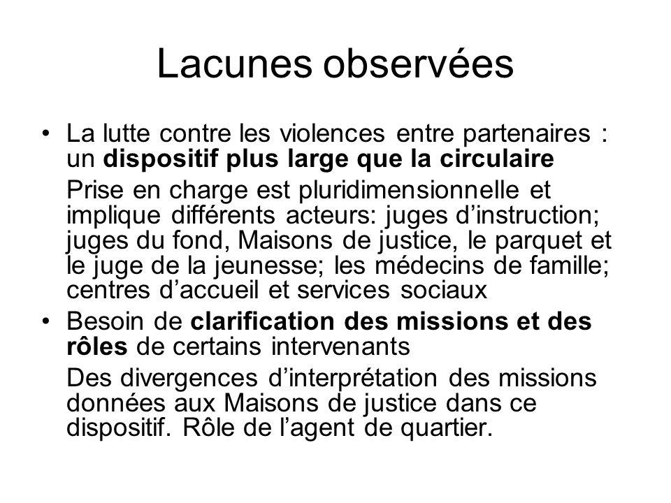 Lacunes observées La lutte contre les violences entre partenaires : un dispositif plus large que la circulaire.