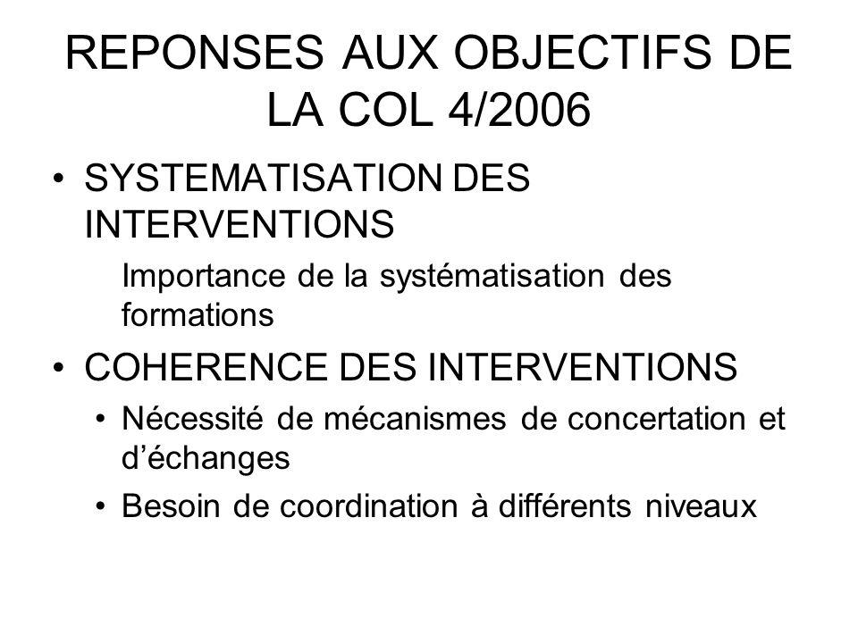REPONSES AUX OBJECTIFS DE LA COL 4/2006