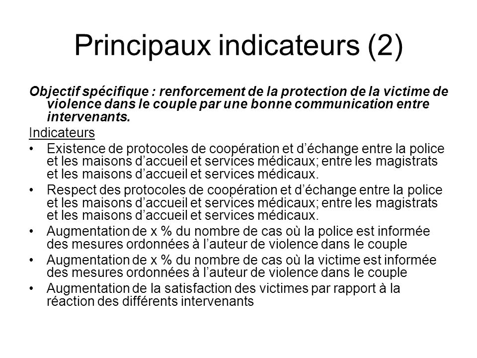 Principaux indicateurs (2)