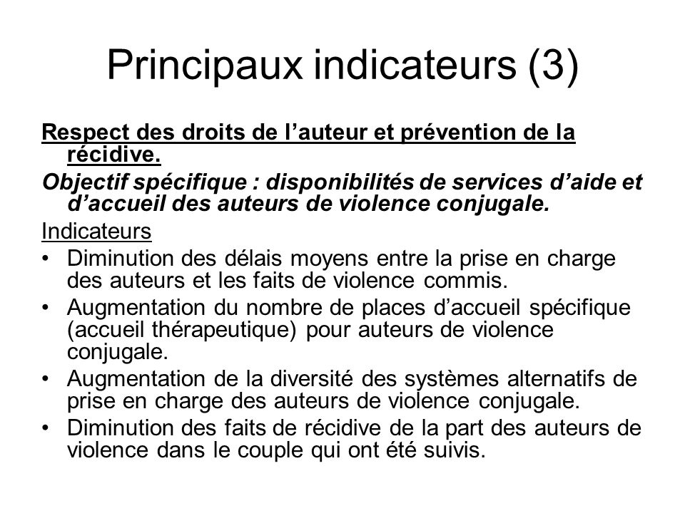 Principaux indicateurs (3)