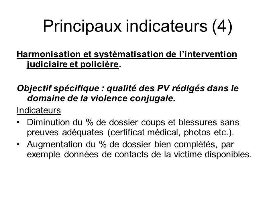 Principaux indicateurs (4)