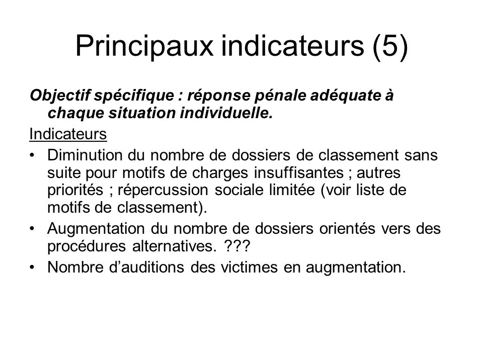 Principaux indicateurs (5)