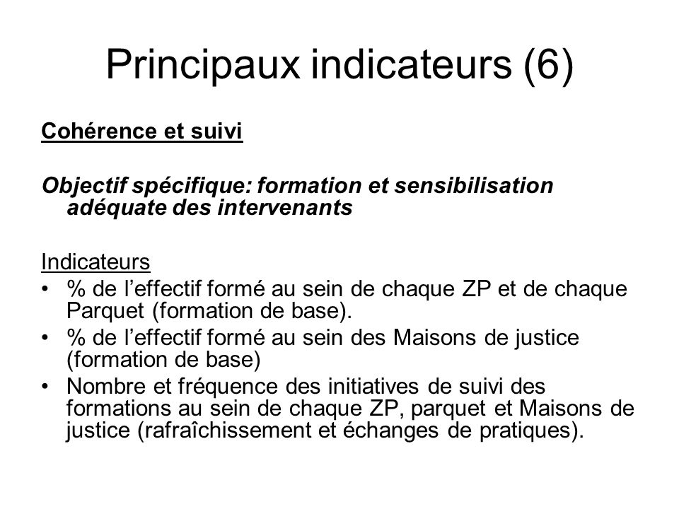 Principaux indicateurs (6)